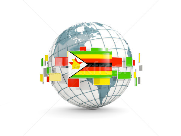 Globe with flag of zimbabwe isolated on white Stock photo © MikhailMishchenko