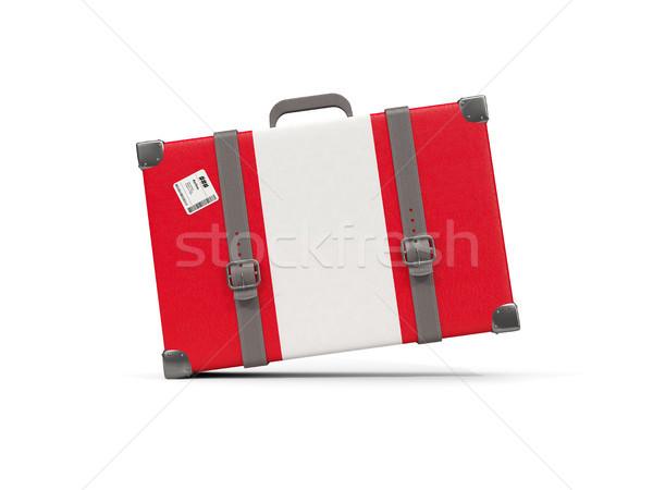 Csomagok zászló Peru bőrönd izolált fehér Stock fotó © MikhailMishchenko