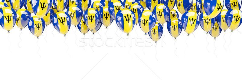 Balões quadro bandeira Barbados isolado branco Foto stock © MikhailMishchenko