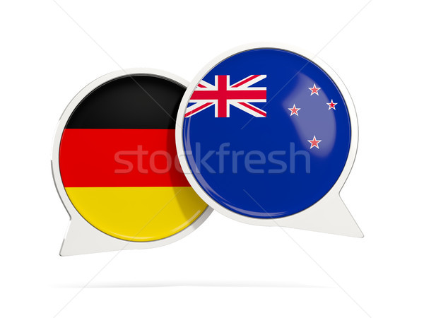 Conversar bubbles Alemanha Nova Zelândia isolado branco Foto stock © MikhailMishchenko