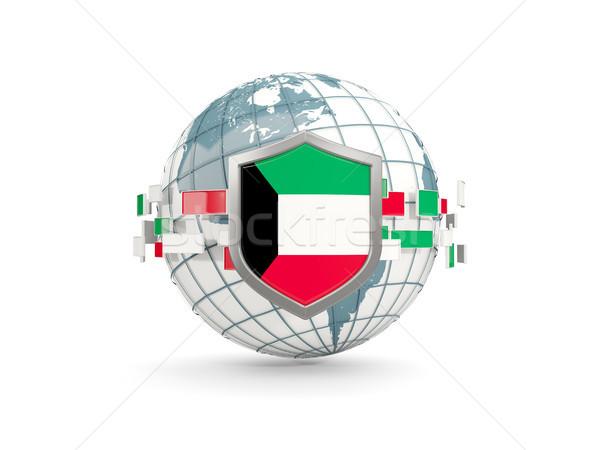 Globo escudo bandeira Kuweit isolado branco Foto stock © MikhailMishchenko