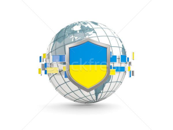 Globe and shield with flag of ukraine isolated on white Stock photo © MikhailMishchenko