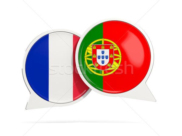 Chat bulles France Portugal isolé blanche Photo stock © MikhailMishchenko