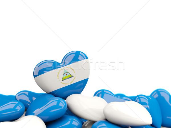 Szív zászló Nicaragua felső szívek izolált Stock fotó © MikhailMishchenko