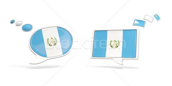 два чате иконки флаг Гватемала квадратный Сток-фото © MikhailMishchenko