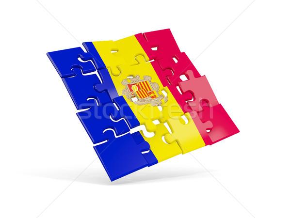 Puzzel vlag Andorra geïsoleerd witte 3d illustration Stockfoto © MikhailMishchenko