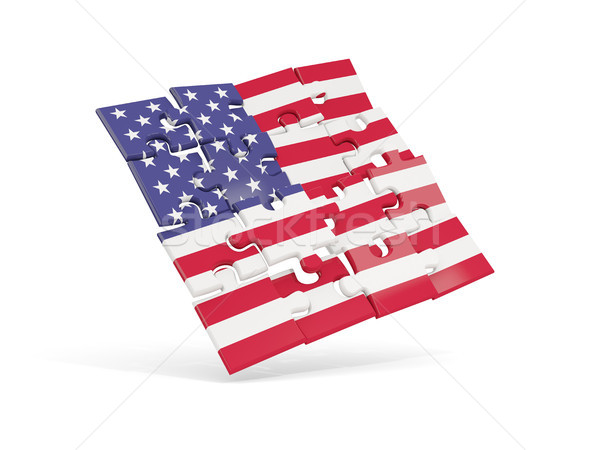 Bilmece bayrak Amerika Birleşik Devletleri Amerika yalıtılmış beyaz Stok fotoğraf © MikhailMishchenko