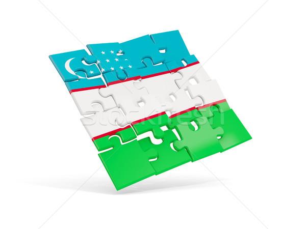 головоломки флаг Узбекистан изолированный белый 3d иллюстрации Сток-фото © MikhailMishchenko