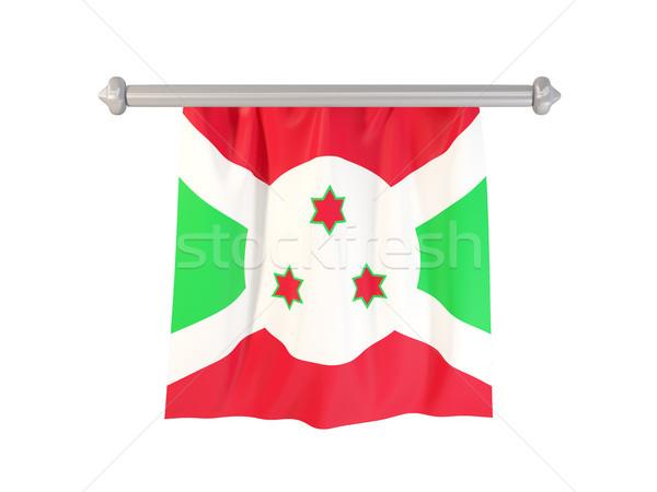 Foto stock: Bandeira · Burundi · isolado · branco · ilustração · 3d · etiqueta
