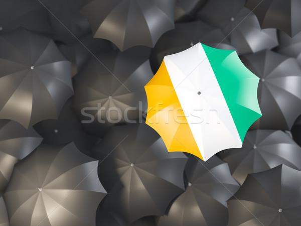 Ombrello bandiera top nero ombrelli illustrazione 3d Foto d'archivio © MikhailMishchenko