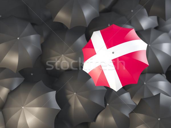 Parapluie pavillon Danemark haut noir parapluies Photo stock © MikhailMishchenko