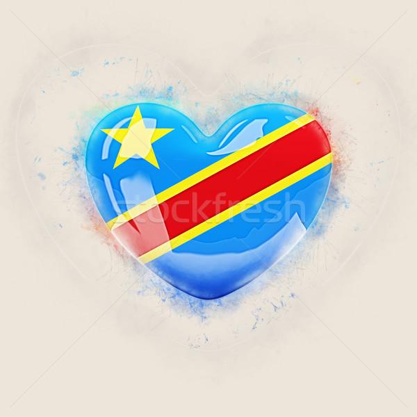 Szív zászló demokratikus köztársaság Kongó grunge Stock fotó © MikhailMishchenko