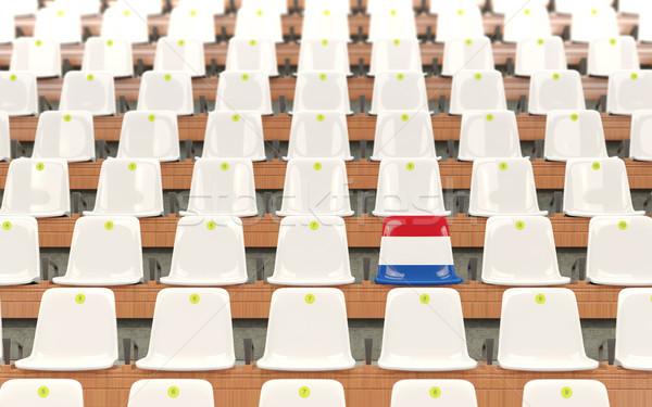 Stadion zitting vlag Nederland rij witte Stockfoto © MikhailMishchenko