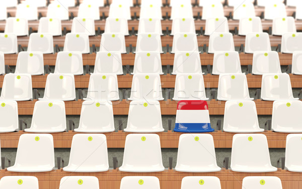 Stade siège pavillon Pays-Bas rangée blanche Photo stock © MikhailMishchenko