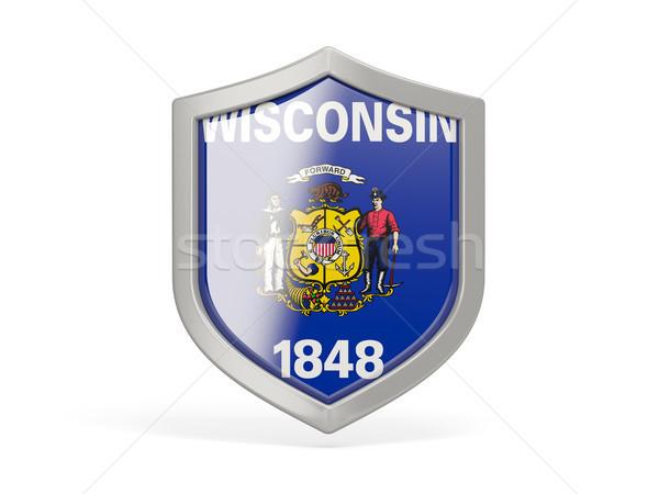 Bouclier icône pavillon Wisconsin États-Unis locale Photo stock © MikhailMishchenko