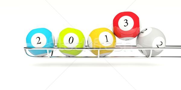 2013 лотерея изолированный белый зеленый Сток-фото © MikhailMishchenko