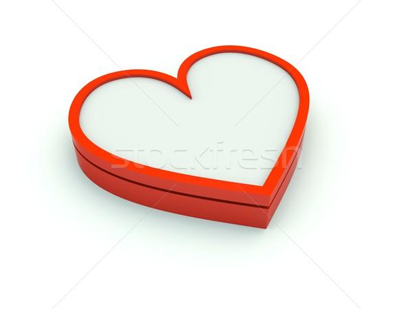 Stock fotó: Szív · ikon · piros · 3D · izolált · illusztráció