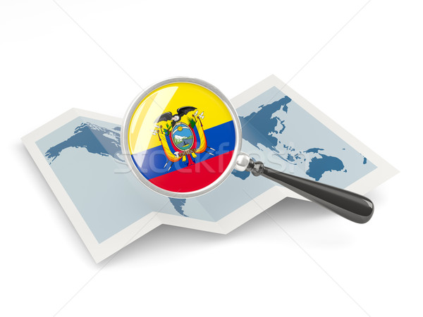 Magnified flag of ecuador with map Stock photo © MikhailMishchenko