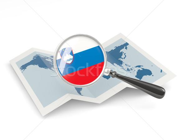 Nagyított zászló Szlovénia térkép izolált fehér Stock fotó © MikhailMishchenko