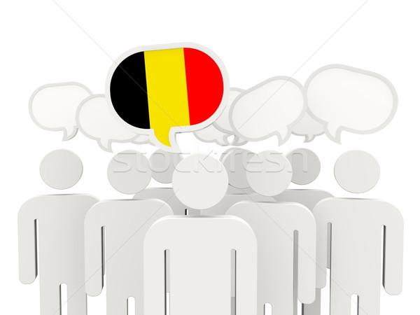 Personas bandera Bélgica aislado blanco reunión Foto stock © MikhailMishchenko