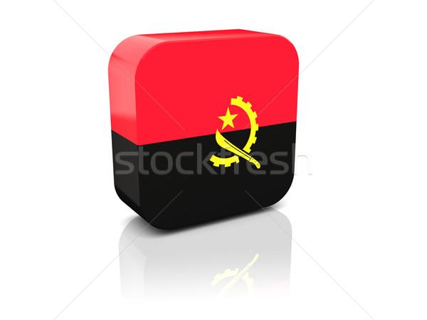 квадратный икона флаг Ангола отражение белый Сток-фото © MikhailMishchenko