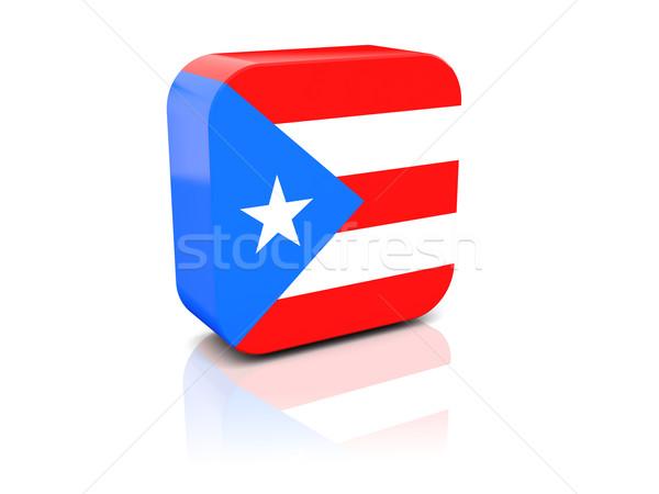 Stockfoto: Vierkante · icon · vlag · Puerto · Rico · reflectie · witte