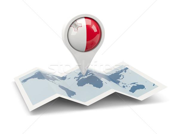 Pin bandera Malta mapa viaje blanco Foto stock © MikhailMishchenko