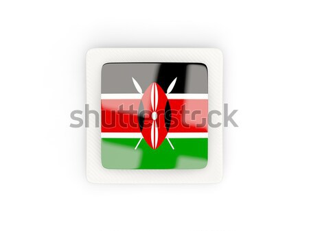 Placu metal przycisk banderą Kenia odizolowany Zdjęcia stock © MikhailMishchenko