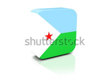 Placu naklejki banderą Dżibuti odizolowany biały Zdjęcia stock © MikhailMishchenko