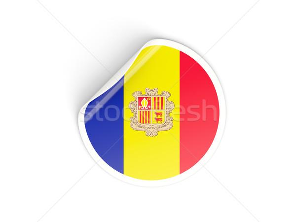 Sticker vlag Andorra geïsoleerd witte reizen Stockfoto © MikhailMishchenko
