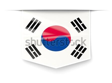 Square label with flag of south korea Stock photo © MikhailMishchenko