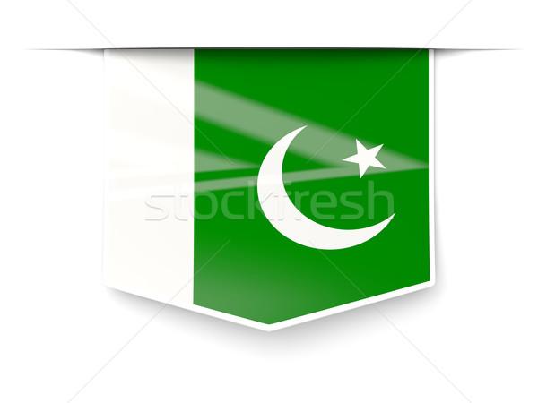 Tér címke zászló Pakisztán izolált fehér Stock fotó © MikhailMishchenko