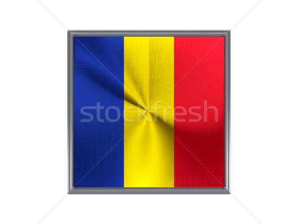 Kare Metal düğme bayrak Romanya yalıtılmış Stok fotoğraf © MikhailMishchenko