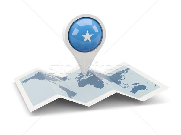 Pin banderą Somali Pokaż podróży biały Zdjęcia stock © MikhailMishchenko