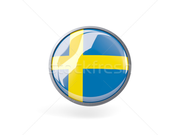 Icona bandiera Svezia metal frame viaggio Foto d'archivio © MikhailMishchenko