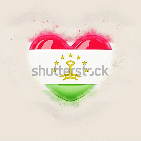 Heart shaped icon with flag of tajikistan Stock photo © MikhailMishchenko