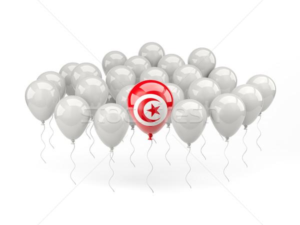 Hava balonlar bayrak Tunus yalıtılmış beyaz Stok fotoğraf © MikhailMishchenko