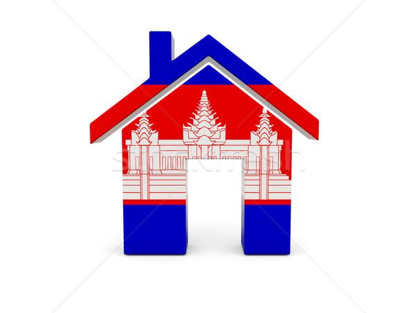 Casa bandeira Camboja isolado branco pesquisar Foto stock © MikhailMishchenko