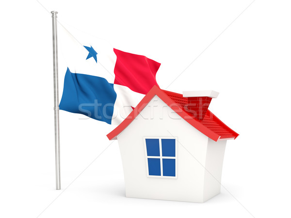 Ház zászló Panama izolált fehér otthon Stock fotó © MikhailMishchenko