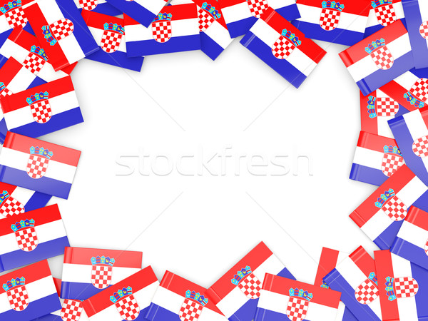 Quadro bandeira Croácia isolado branco Foto stock © MikhailMishchenko