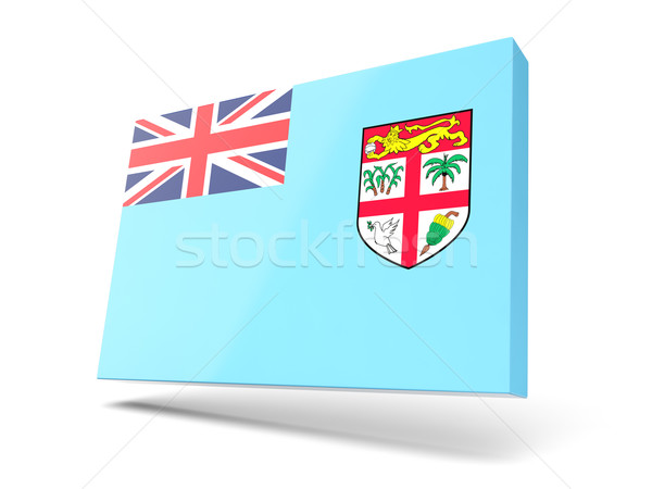 Tér ikon zászló Fidzsi-szigetek izolált fehér Stock fotó © MikhailMishchenko