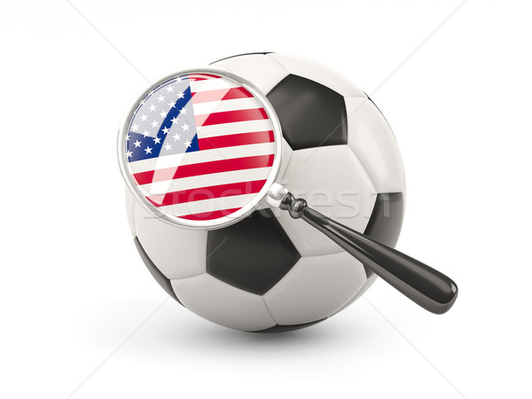 Futball nagyított zászló Egyesült Államok Amerika izolált Stock fotó © MikhailMishchenko