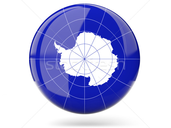 Stock photo: Round icon with flag of antarctica