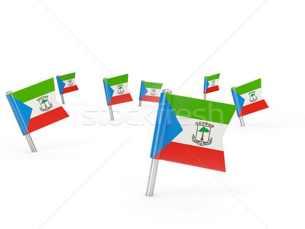 Praça bandeira Guiné Equatorial isolado branco assinar Foto stock © MikhailMishchenko