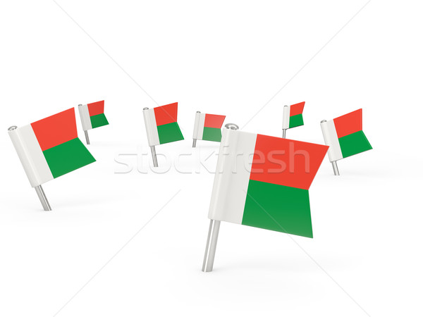 Square pins with flag of madagascar Stock photo © MikhailMishchenko