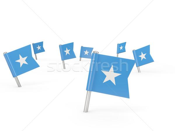 Placu banderą Somali odizolowany biały kraju Zdjęcia stock © MikhailMishchenko