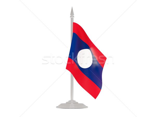 Banderą Laos maszt 3d odizolowany biały Zdjęcia stock © MikhailMishchenko