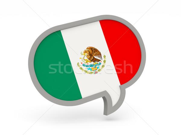 Chat ikona banderą Meksyk odizolowany biały Zdjęcia stock © MikhailMishchenko