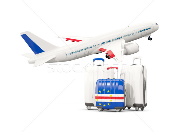Luggage with flag of cape verde. Three bags with airplane Stock photo © MikhailMishchenko