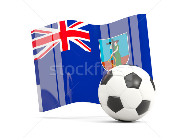Football with waving flag of montserrat isolated on white Stock photo © MikhailMishchenko